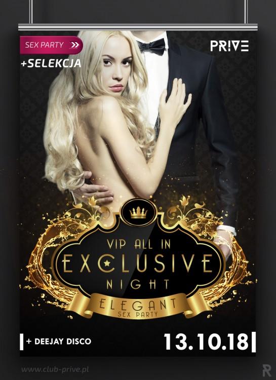 VIP ALL IN EXCLUSIVE NIGHT - ELEGANT SEXPARTY / SELEKCJA /KARTY / DISCO / DJ