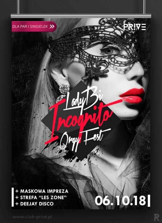 LADY BI INCOGNITO ORGY FEST - MASKOWA IMPREZA DLA PAR I SINGIELEK / DISCO / DJ / LES